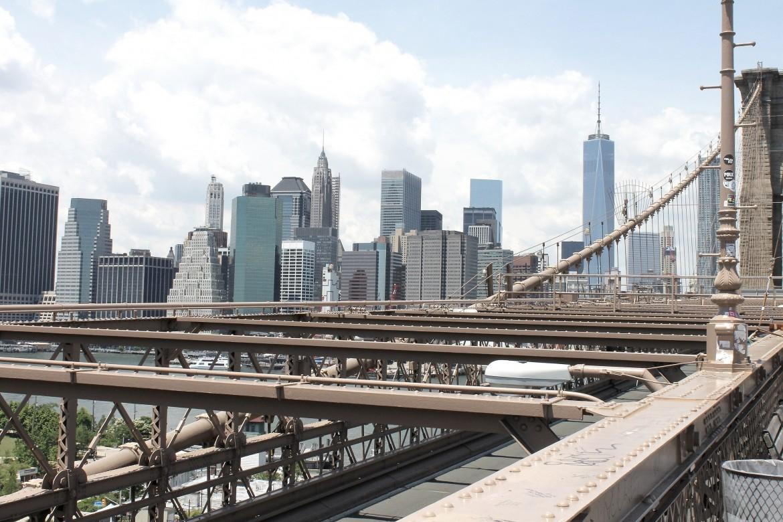 New York City brooklyn bridge skyline freedom tower