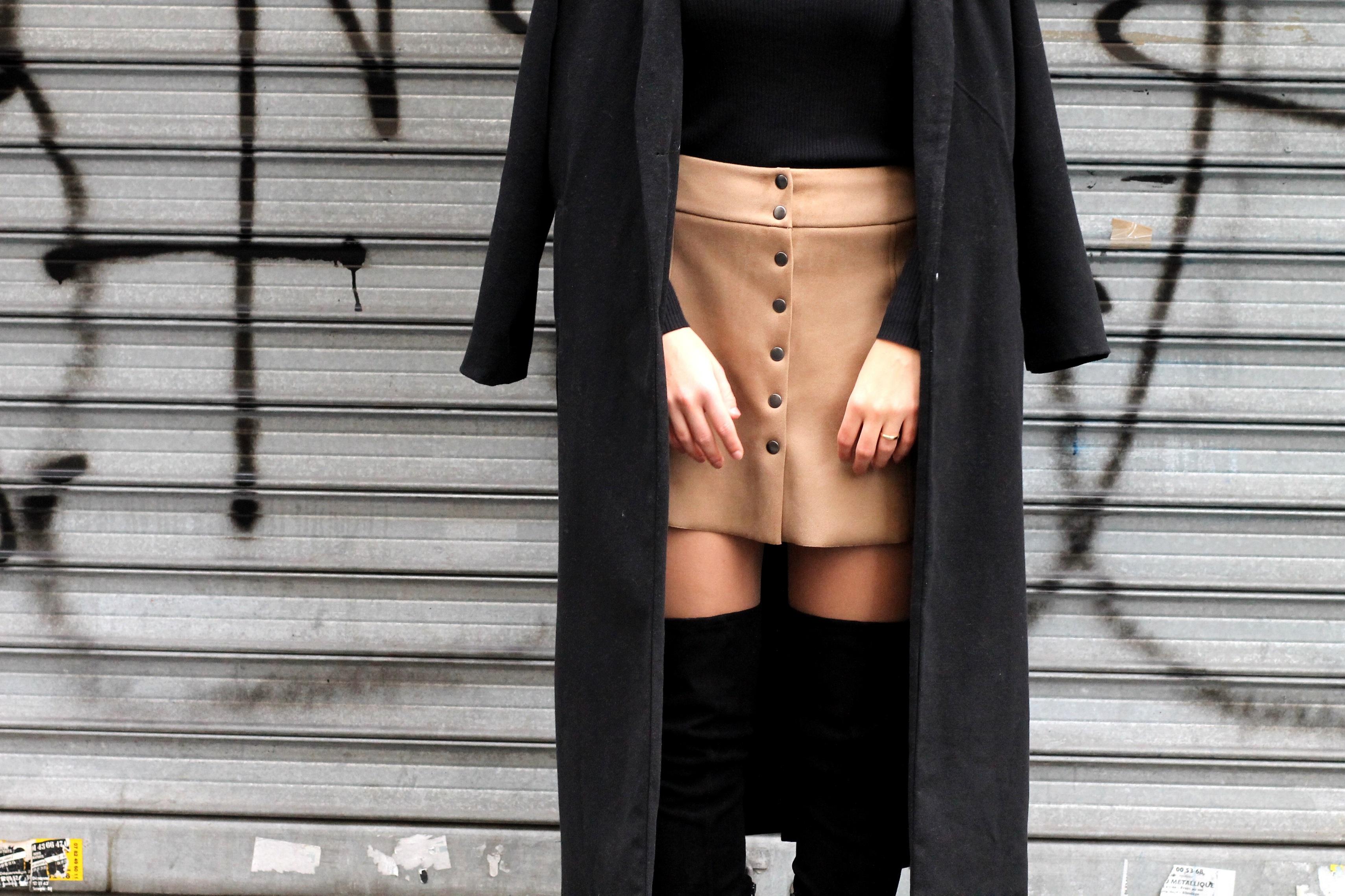 Details suede skirt overknee boots asos