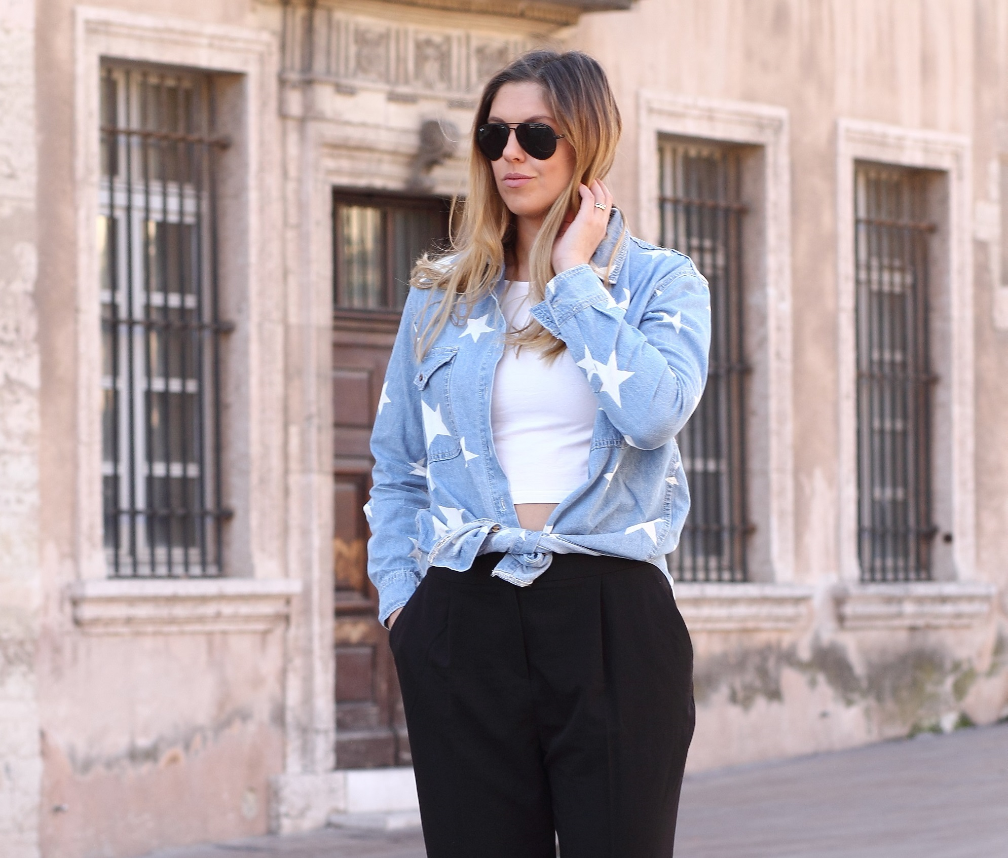 asos star denim shirt highwaisted pants black