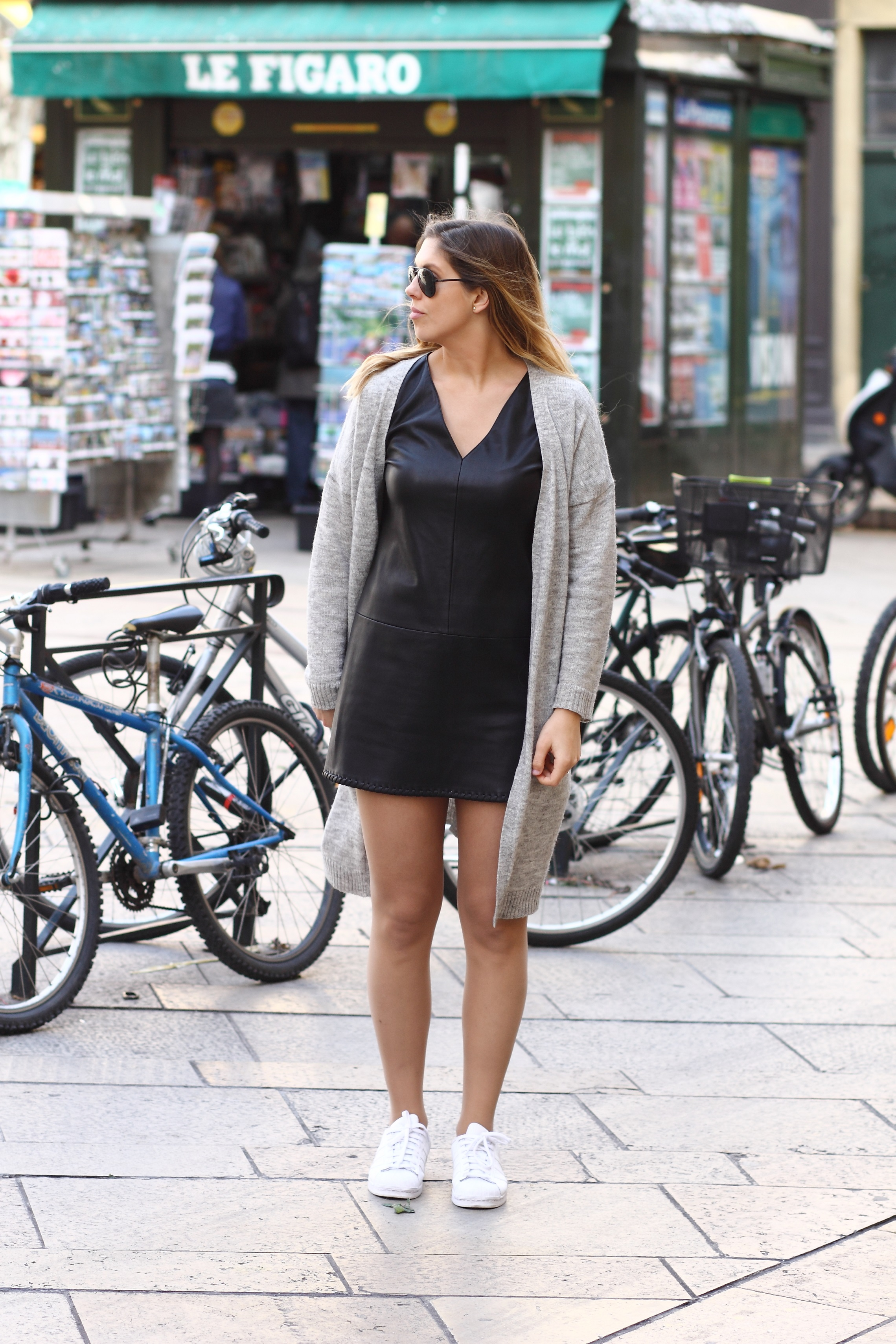 leather dress white sneakers