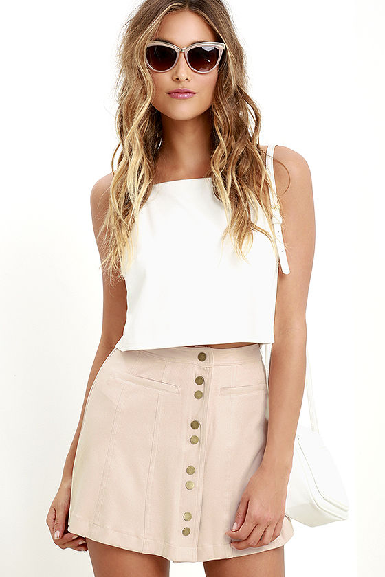 Spring lulu's mini skirt nude blush button down