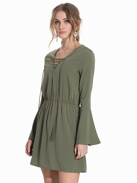 spring nelly dress lace up olive