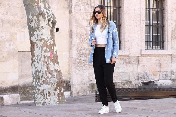 white sneakers adidas superstars denim shirt