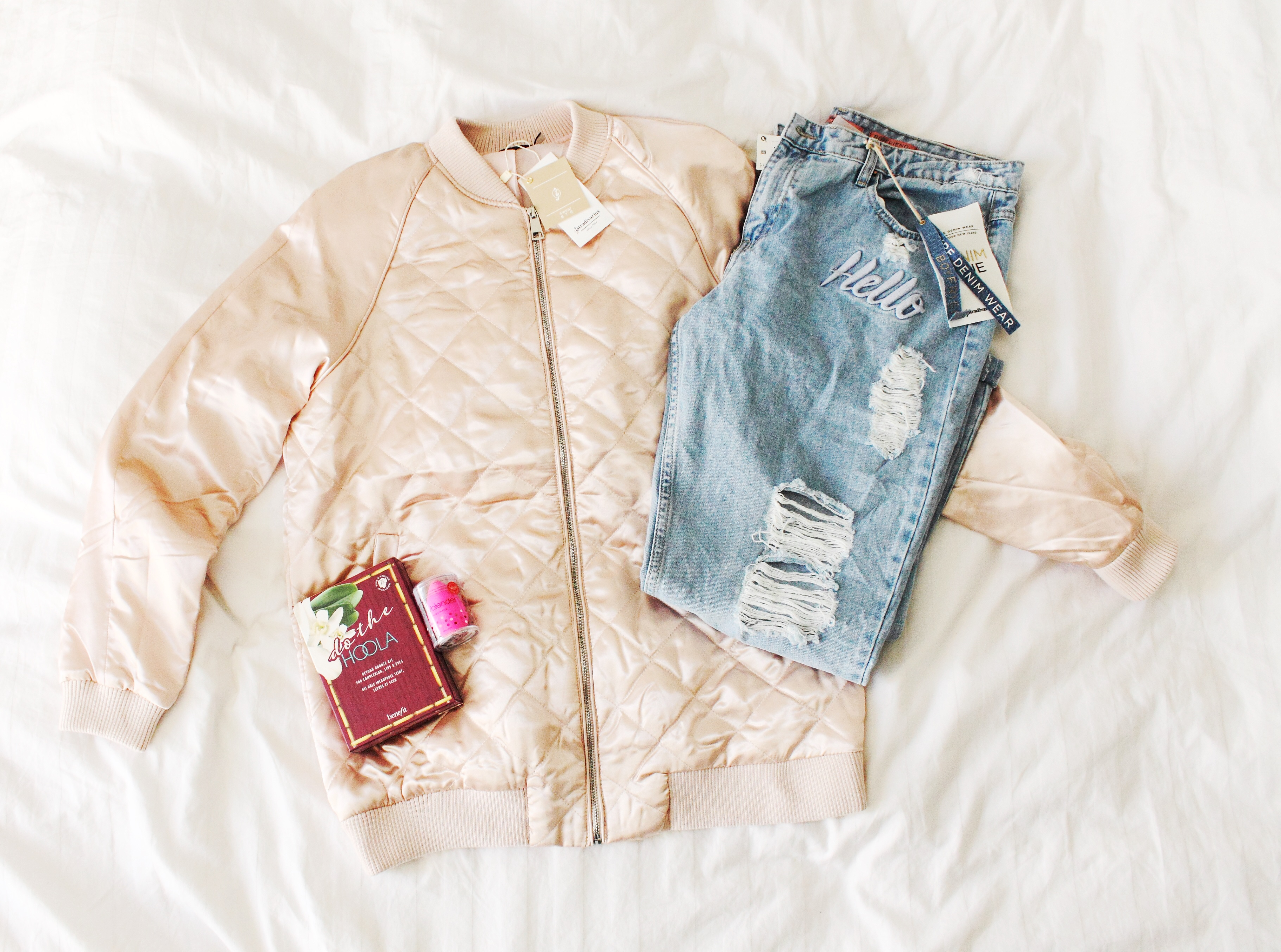 c3aefc5801d pale pink bomber jacket stradivarius ripped denim benefit sephora  beautyblender