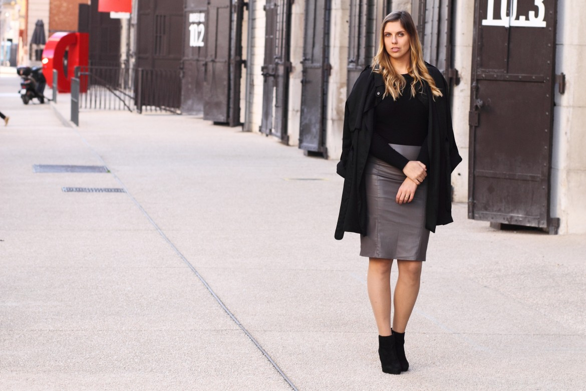 leather skirt coat black bikbok