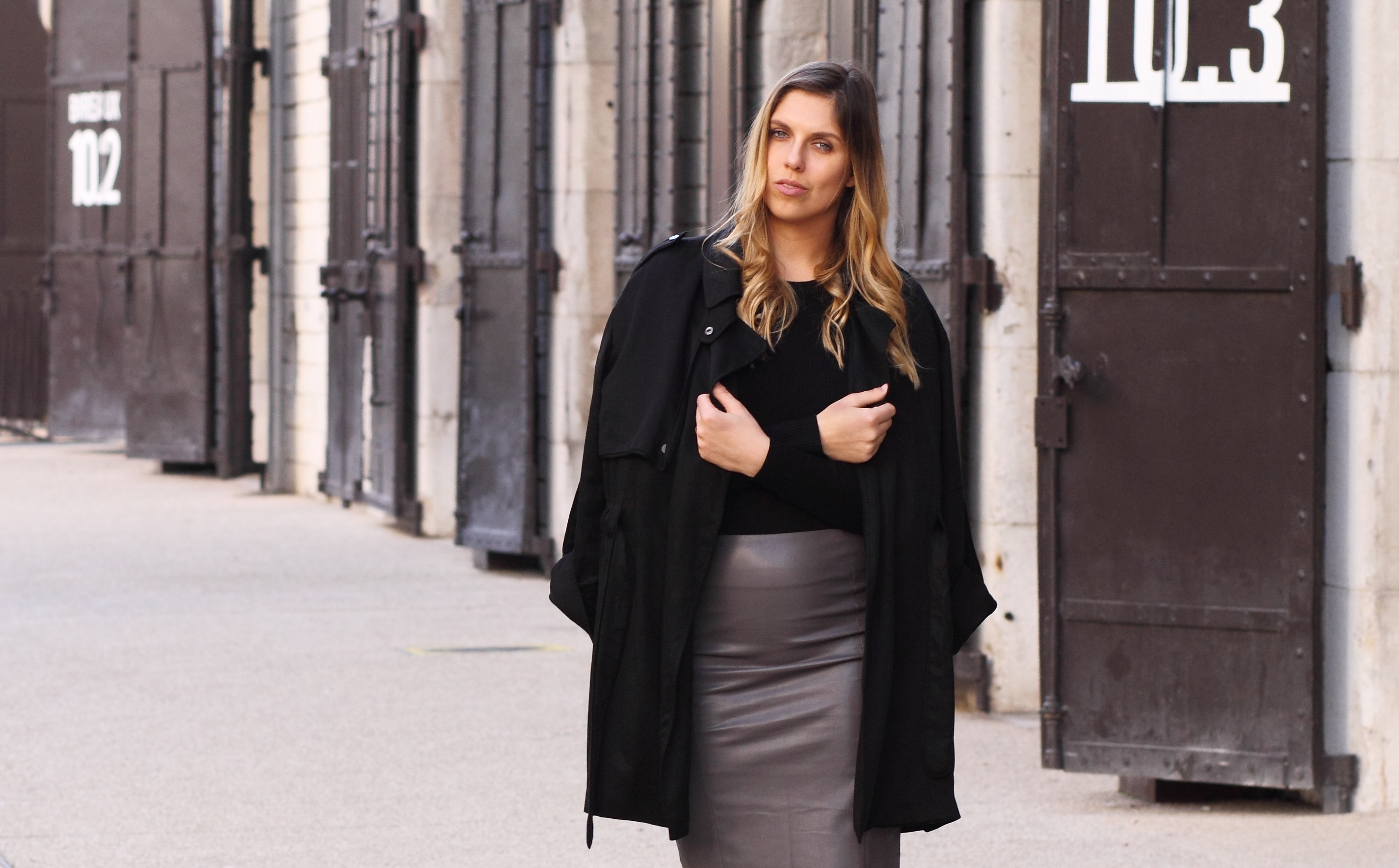 leather skirt from bikbok with all black everything