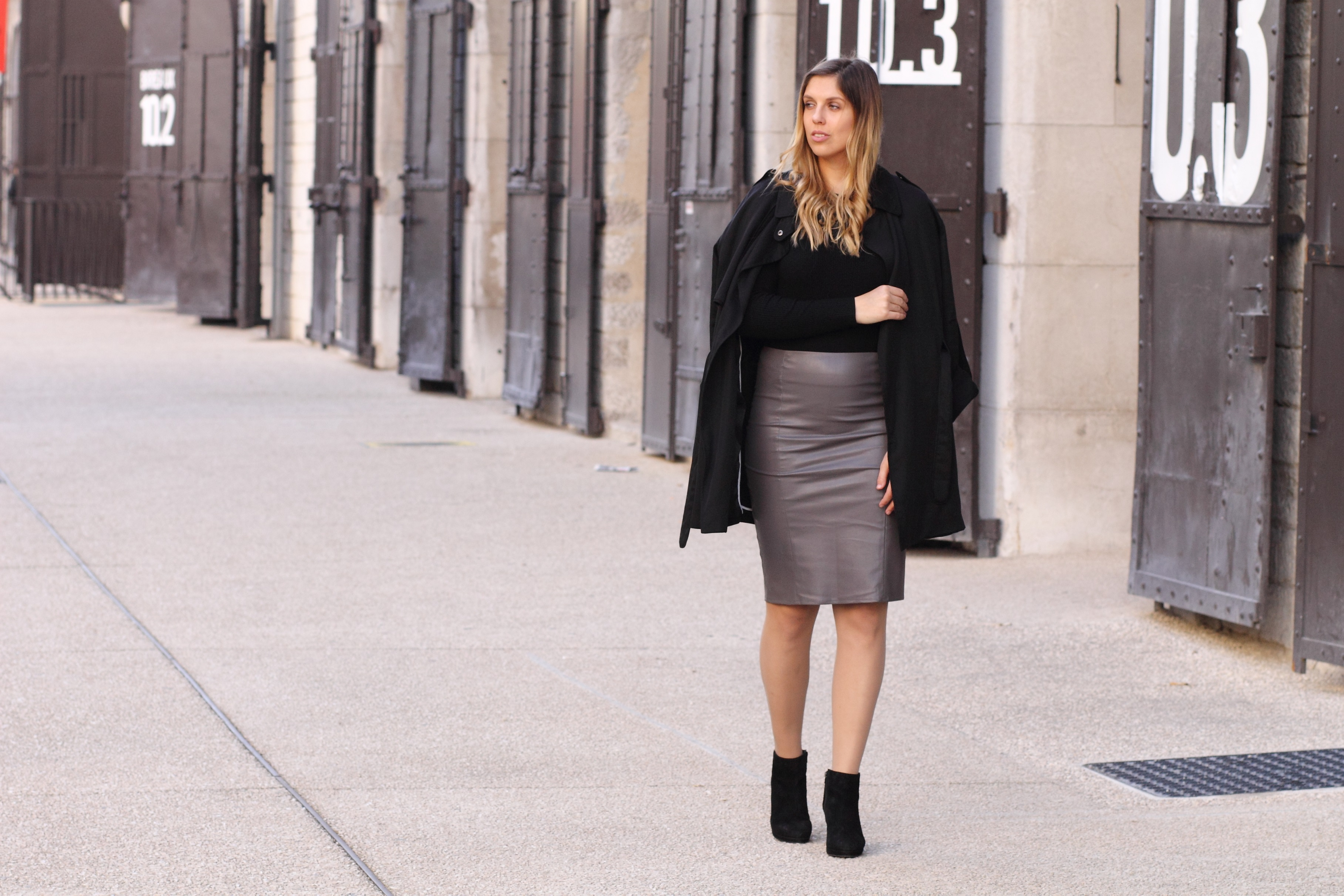 leather skirt grey bikbok black coat