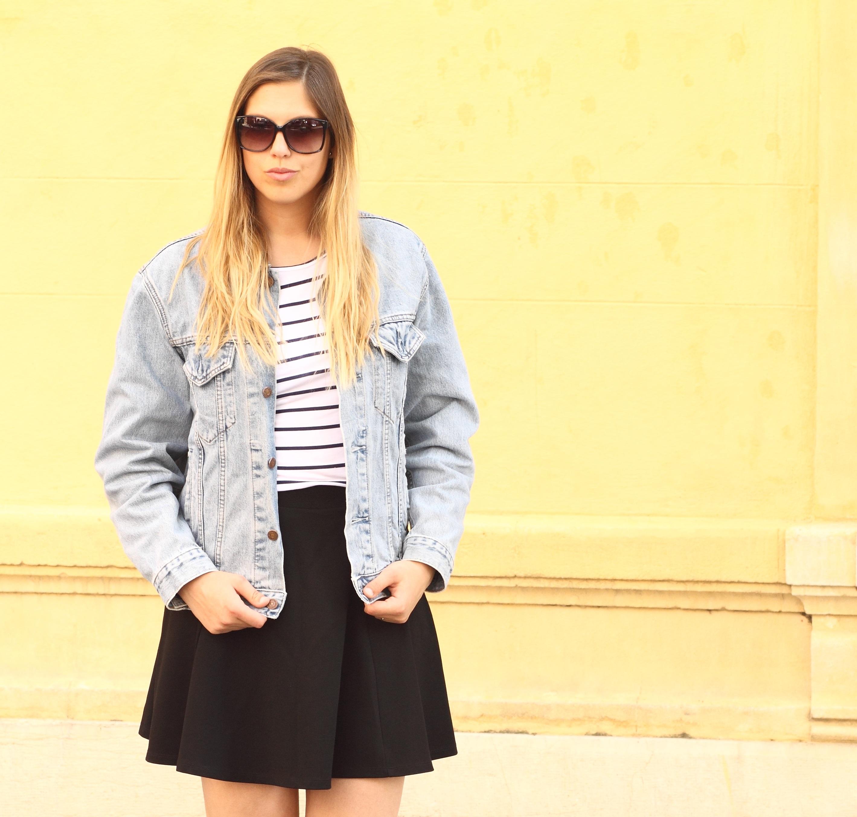 a line skirt boots denim jacket