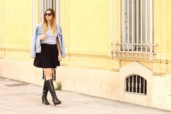 a line skirt striped shirt denim jacket levis vintage