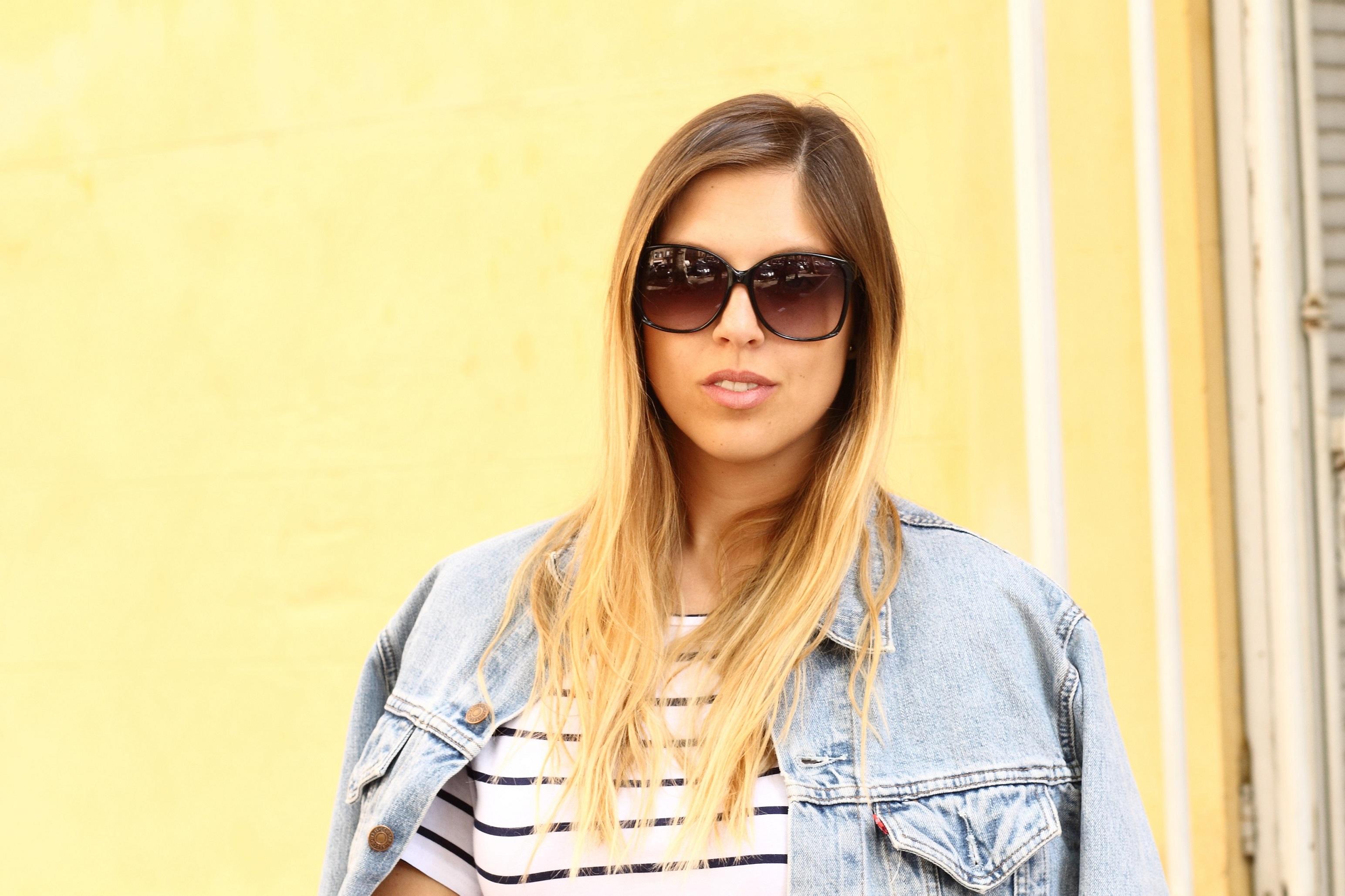 striped shirt denim jacket sunglasses
