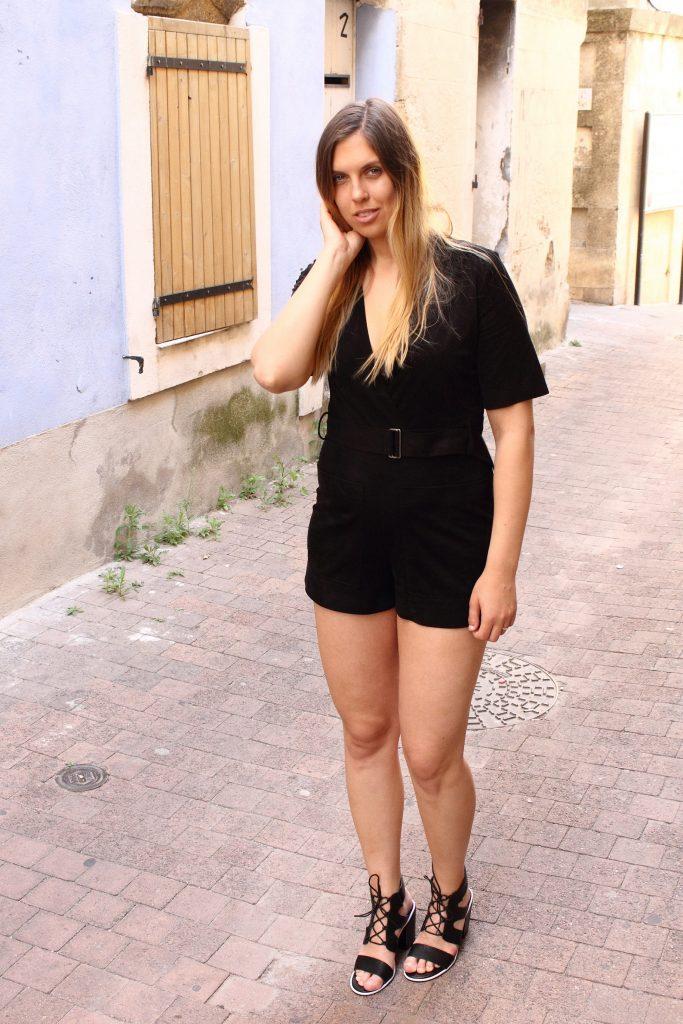 suede playsuit black lace bra hihj heels lace