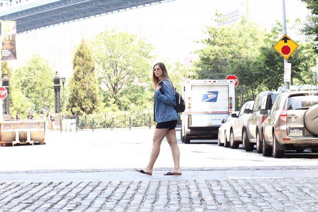 brooklyn bridge denim jacket jumpsuit