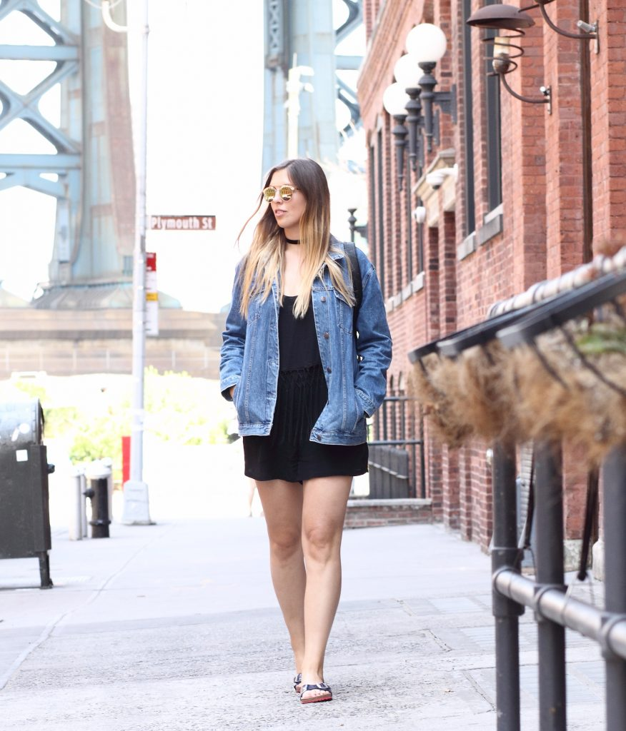 brooklyn bridge dumbo jumpsuit denim jacket