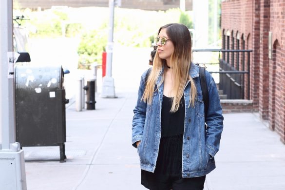 brooklyn bridge dumbo jumpsuit denim jacket choker 1