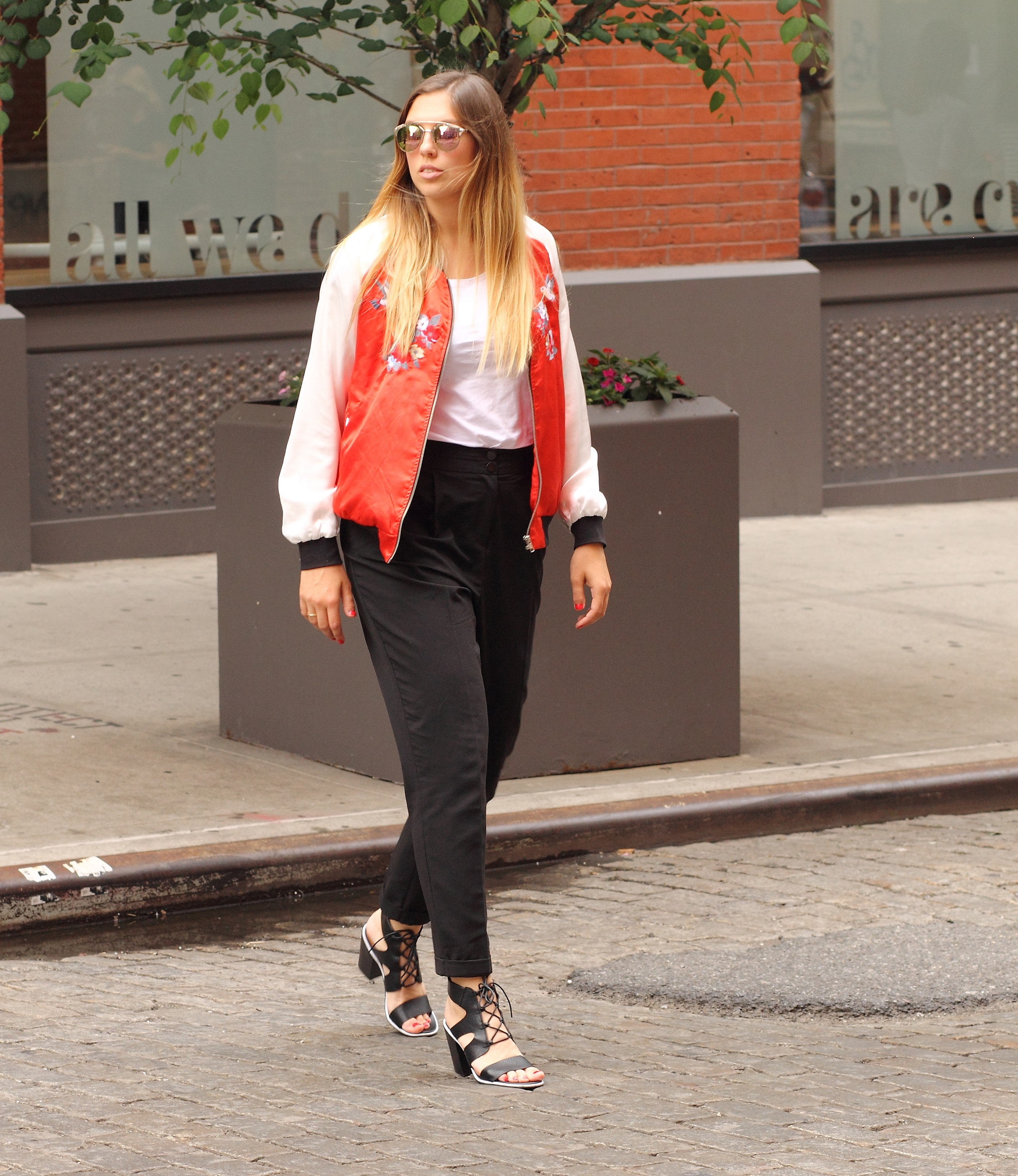 satin red bomberjacket highwaisted pants soho