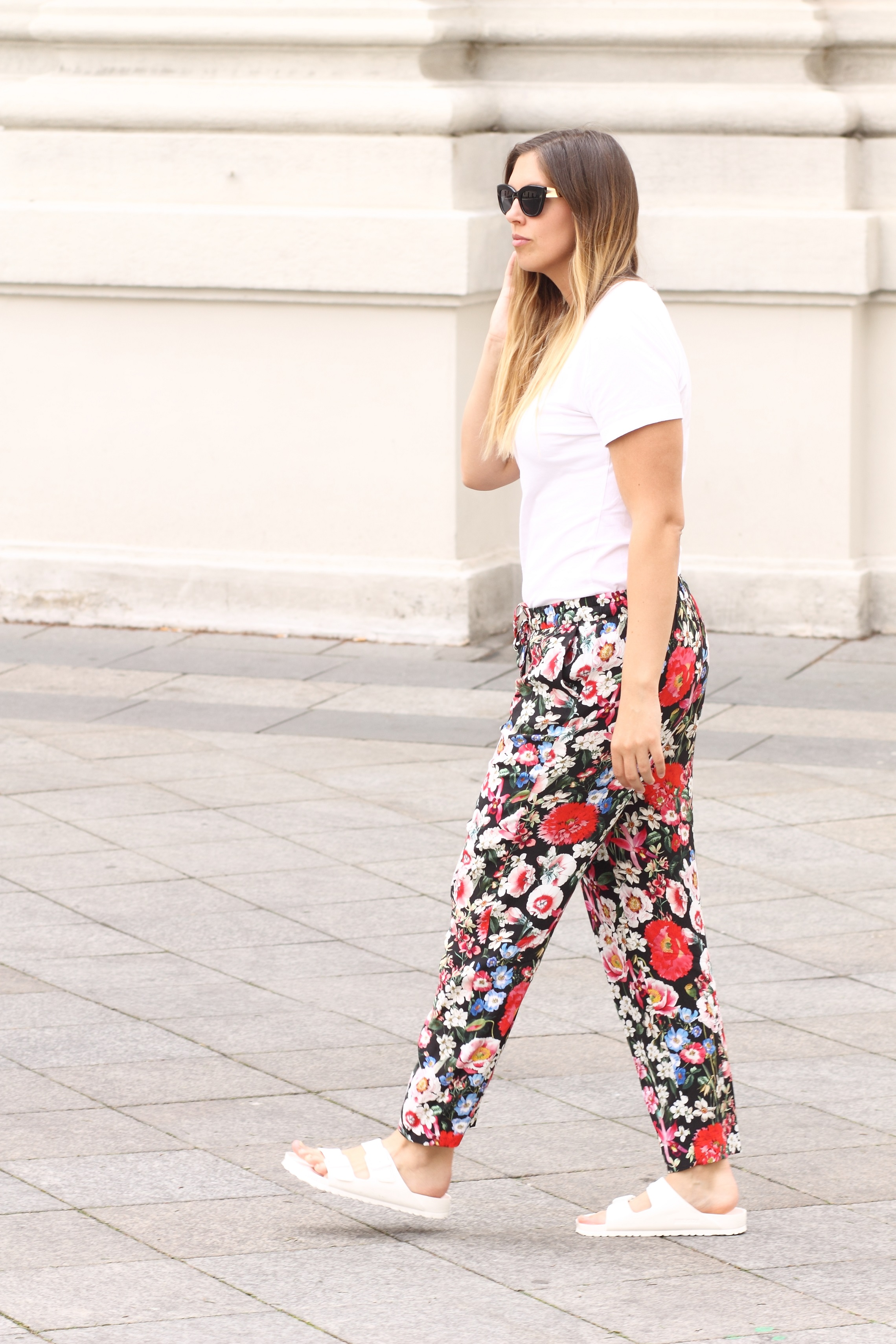 zara flowerprint pants white birkenstocks
