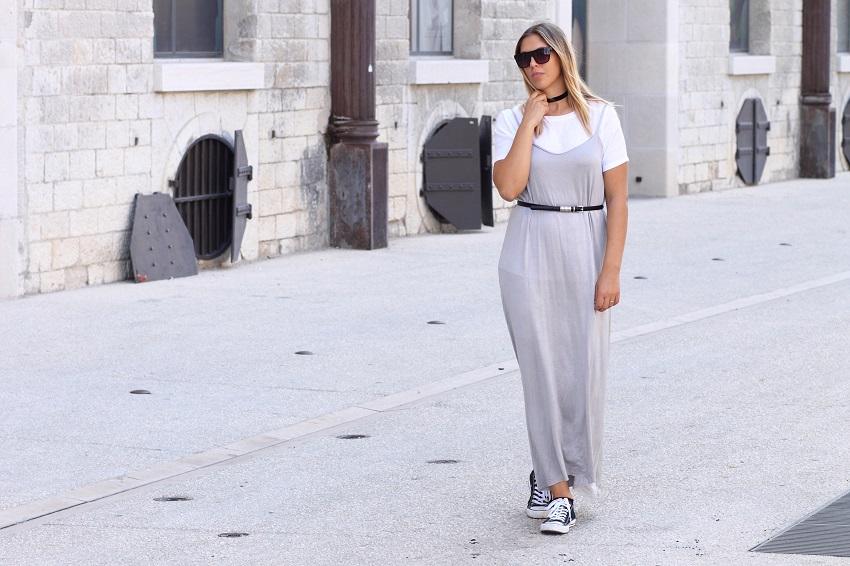 slip dress and white shirt