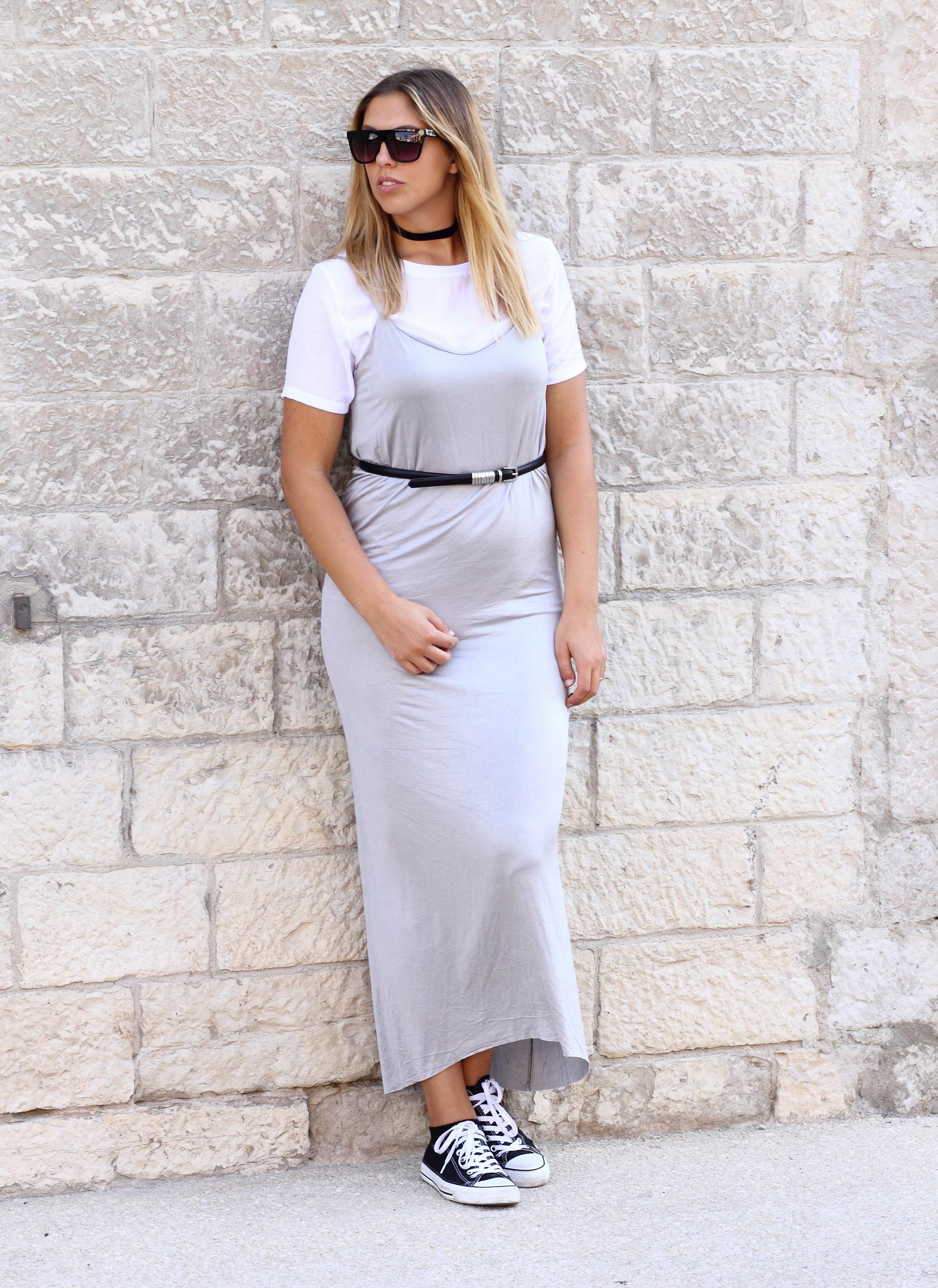 slip dress white shirt