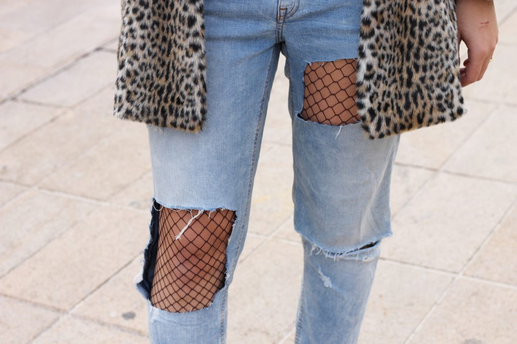 ripped denim fishnet tights