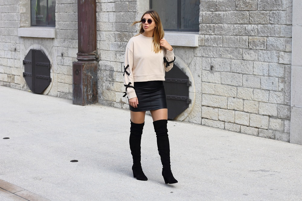 zara lace up sweater overknee boots