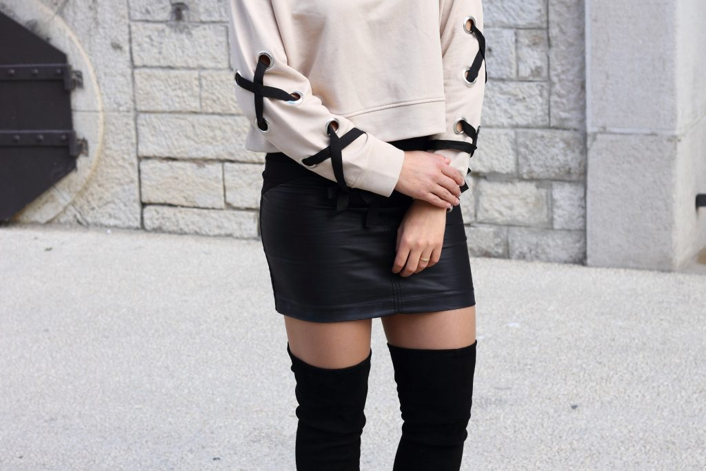 zara lace up sweater