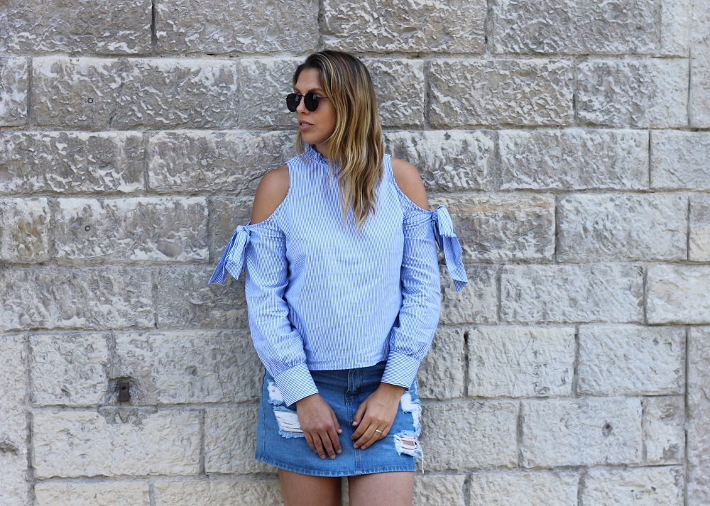 cold shoulder blouse shein