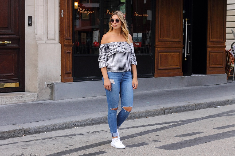 lucca gingham off shoulder top